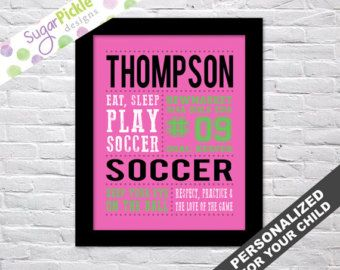Check out Soccer print for girls, Soccer Subway art, Soccer Print, Soccer Stats Art, Soccer Wall Art, Soccer printables, Team Gift, Personalized, on sugarpickledesigns