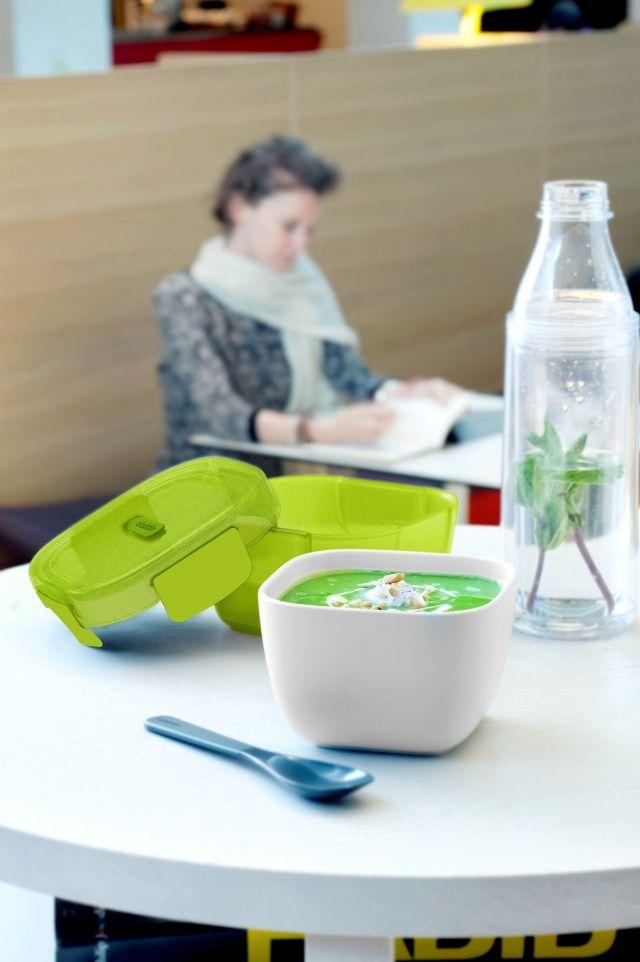 Pojemnik na lunch z miską, zielony, 0,85 l