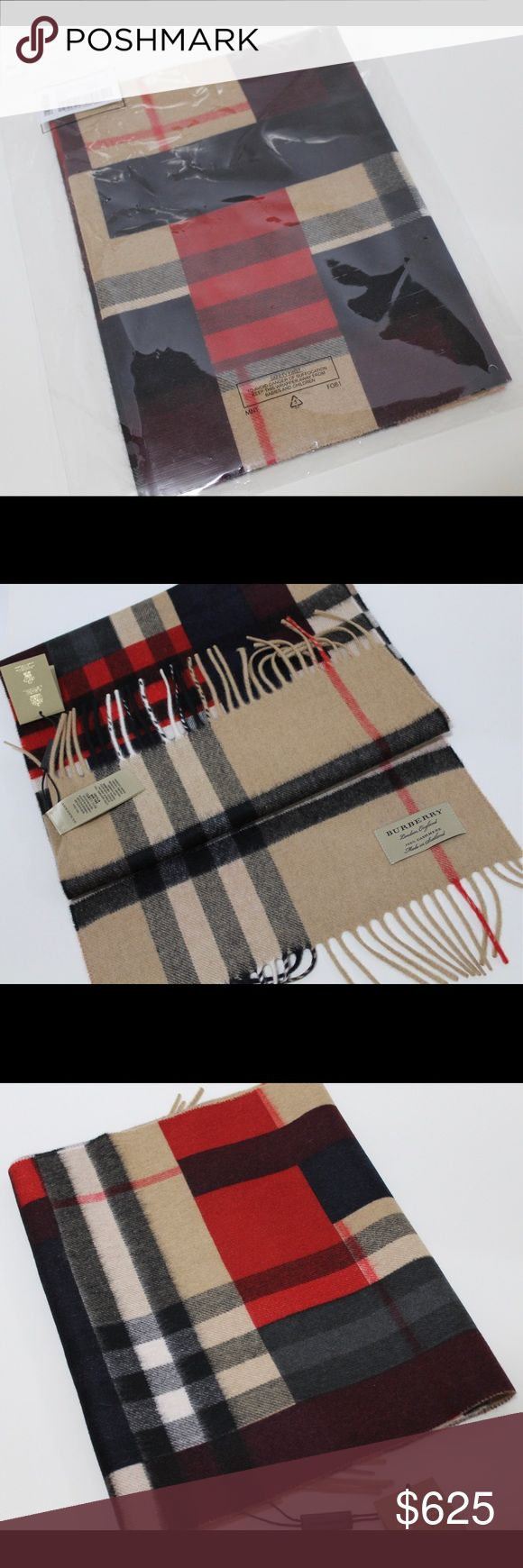 BURBERRY  CLASSIC CASHMERE SCARF IN COLOR BLOCK BURBERRY  THE CLASSIC CASHMERE SCARF IN COLOR BLOCK CHECH    Color: Parade Red  Style: 4026042 1  Retail: $ 650.00    The Classic Cashmere Scarf in check with colour block print is made at a 200-year-old mill in the Scottish countryside. Using 30 different steps, the scarf is woven on traditional looms.    168 x 30cm/66.1 x 11.8in  100% cashmere  Rectangular  Fringing at both ends  Specialist dry clean  Made in Scotland Burberry Accessories…