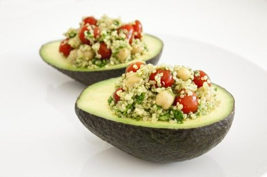 vegan quinoa stuffed avocado