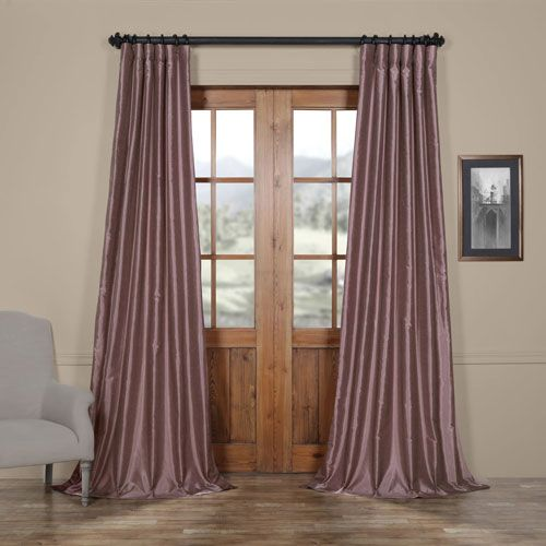 Smoky Plum Vintage Textured Faux Dupioni Silk Single Panel Curtain, 50 X 108