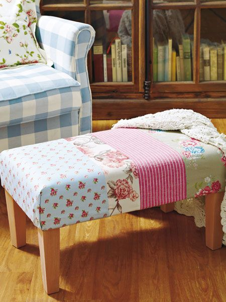 ugly upholstered thrift store furniture: patchwork solution