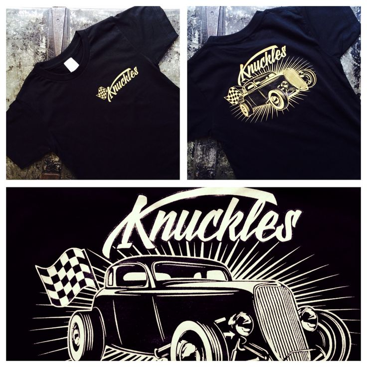 Knuckles Classic tee.  Calling all classic Hotrod lovers. Our Knuckles Classic tee is super soft and features a hotrod design on the back and a small Knuckles design on the front.  All our screen printing is done by hand to ensure top quality prints.  Available in Black  Made from 100% combed cotton.