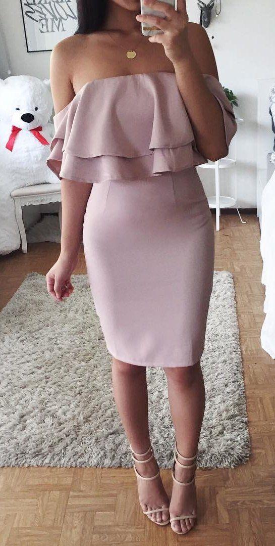 summer outfits  Pink Off The Shoulder Dress + Nude Sandals