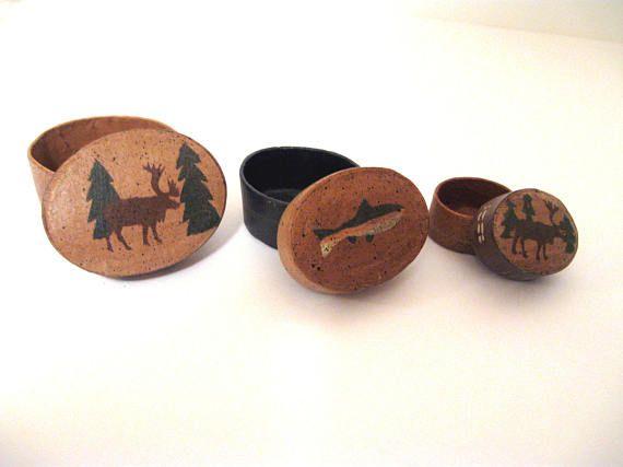 3 Vintage Mini Wildlife Oval Rustic Nesting Boxes Moose & Fish