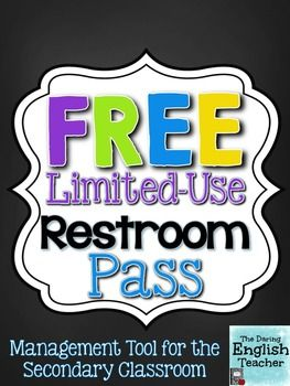 This restroom pass for secondary classrooms also serves as a classroom management tool.With the pass, students are permitted to use the restroom only six times within a specific period that you set. Students are accountable for the pass, so it teaches personal responsibility.