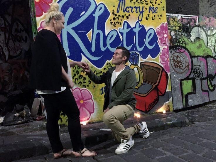 """Marry me Rhette"" - on lactation street art wedding proposal. November 2016. For sales enquires - www.kilproductions.com.au"