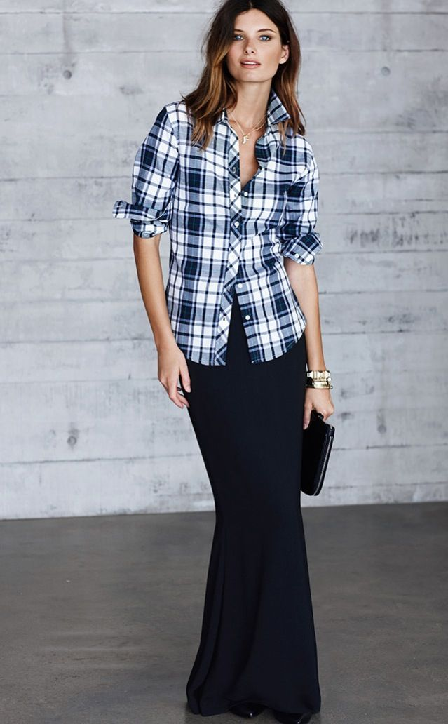 Maxi Skirt With Plaid Shirt Unexpectedly Cool
