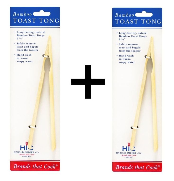 Helen s Asian Kitchen Bamboo Toast Tong Remove Bread Bagels Toaster (2-Pack)