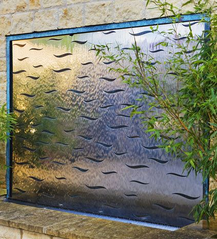 Stainless steel with bronze waves wall water feature for the garden