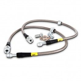 StopTech stainless steel brake lines improve pedal feel and reduce the amount of time between applied pedal pressure and actual deceleration by preventing expansion, which stock rubber flex lines allow.  https://subimods.com/stoptech-stainless-steel-front-brake-lines-2008-2016-wrx-2008-2016-sti-950-47006.html
