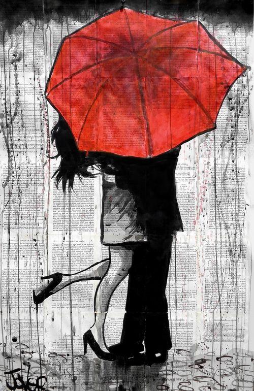 """Great pop of color Saatchi Online Artist: Loui Jover; Ink 2013 Drawing """"red umbrella rendezvous (2)"""""""