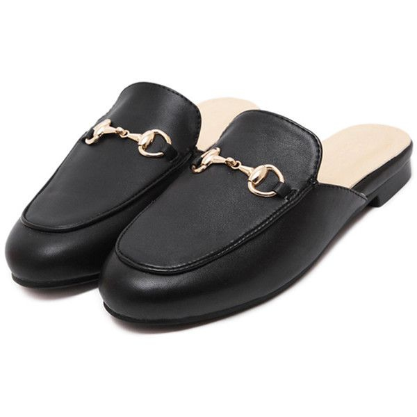 SheIn(sheinside) Black Faux Leather Flat Loafer Slippers ($27) ❤ liked on Polyvore featuring shoes, slippers, loafer flats, black round toe flats, black loafers, black loafer shoes and vegan shoes