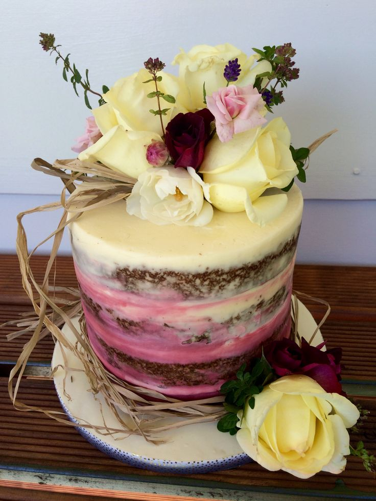 Semi Naked Ombré Cake with Fresh Flowers