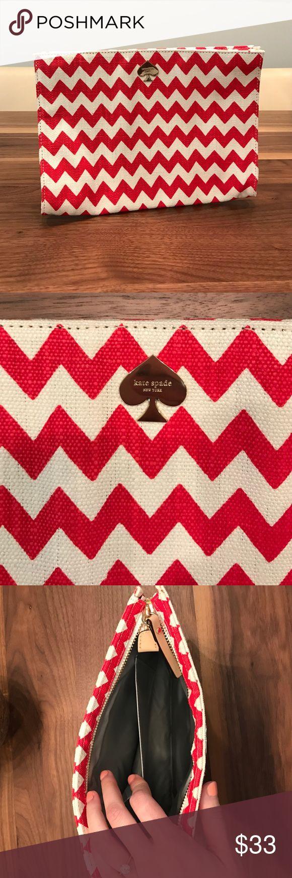 Kate Spade chevron clutch purse Kate Spade clutch purse. Canvas and in chevron pattern. Super cute and light! kate spade Bags Clutches & Wristlets