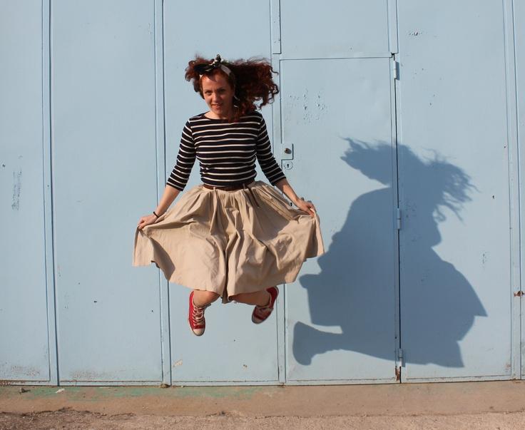 Jumping, Stripy top + circle skirt- Limoges France