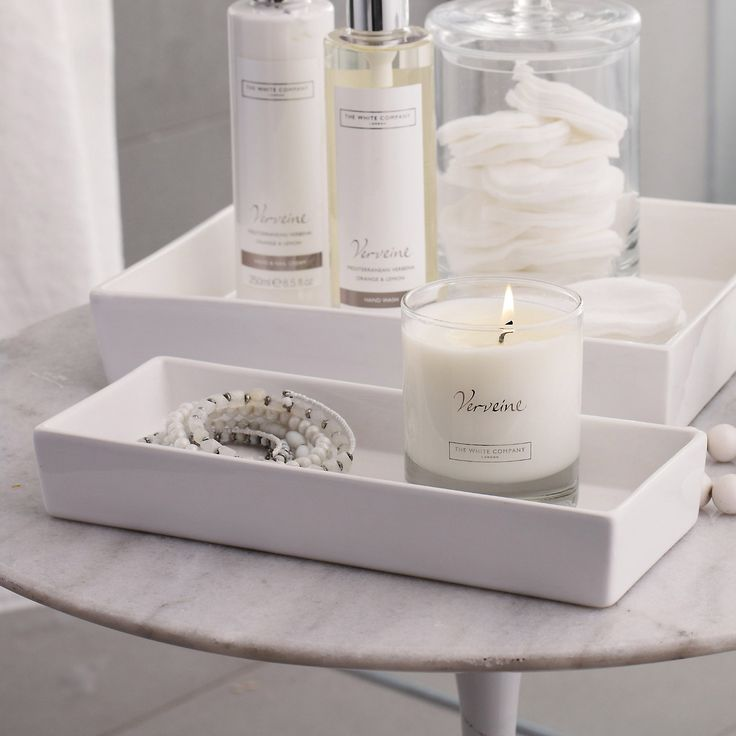 white ceramic rectangular container the white company - White Bathroom Accessories Ceramic