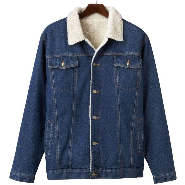 Men's North 40 Lined Denim Jacket's ($48) ❤ liked on Polyvore featuring men's fashion, men's clothing, men's outerwear, men's jackets, blue, mens faux leather jacket, mens lined jean jacket, mens jackets, mens faux fur lined jacket and mens fleece lined jacket