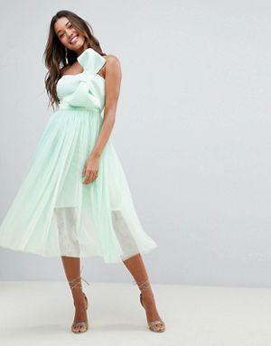 5d8538f622 ASOS DESIGN premium scuba bow front tulle midi dress | Fancy Wear ...