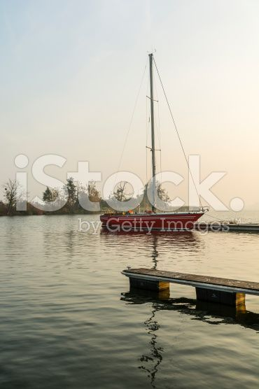 Yacht moored on the lake royalty-free stock photo