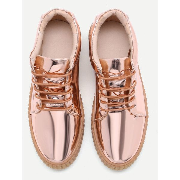 SheIn(sheinside) Rose Gold Patent Leather Rubber Sole Sneakers ($39) ❤ liked on Polyvore featuring shoes, sneakers, shein, lace up shoes, lacing sneakers, lace up sneakers, patent shoes and rubber sole shoes
