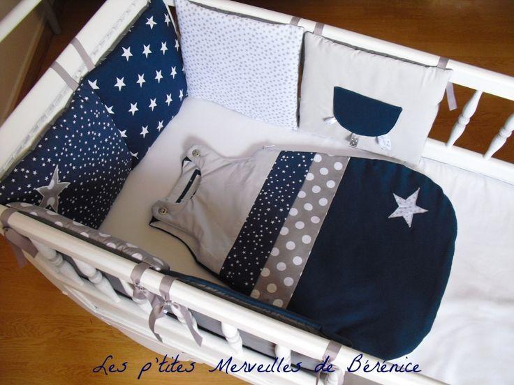 Tour de lit+gigoteuse 0-6 mois étoiles et pois, bleu marine, gris, blanc, argent : Linge de lit enfants par l-p-m-b