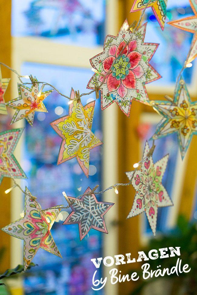 sterne zum ausmalen  kreidestift fenster weihnachten