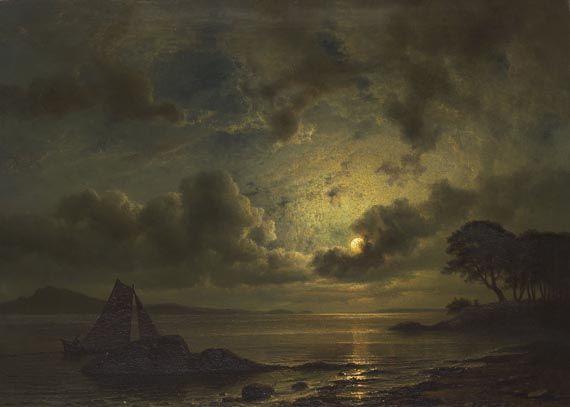 KNUD ANDREASSEN BAADE Mondnacht an der Küste Norwegens, 1859.