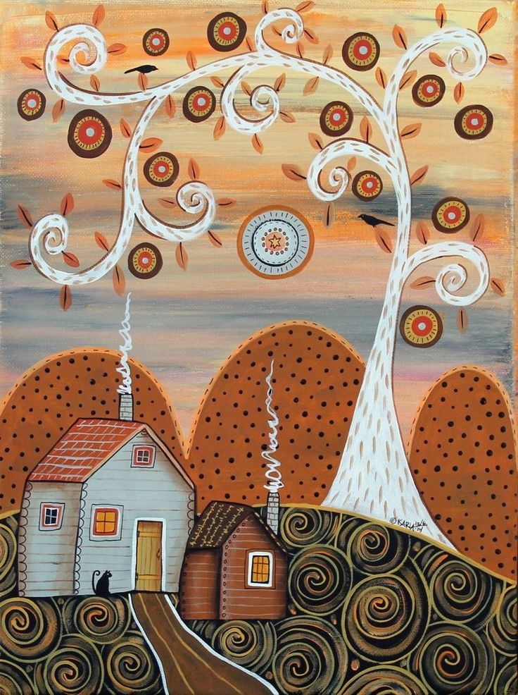 Autumn Bliss 12x16 inch Birds Cat ORIGINAL CANVAS PAINTING Folk Art Karla G ...new painting for sale, just added to store... #FolkArtAbstractPrimitive