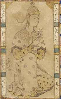 A SEATED PRINCESS ASCRIBED TO RIZA 'ABBASI, SAFAVID IRAN, DATED AH 1035/1625-26 AD Pen and ink with gold, the lady sits in three-quarter profile, holding a flowering spray, signed and dated at left, within panels of black nasta'liq verse to right and left, mounted on an illuminated leaf, possibly originally the heading page of a book with restored and associated illuminated borders, miniature trimmed with light rubbing, leaf with light wear and marking, mounted 12¾ x 10 1/8in. (32.4 x…