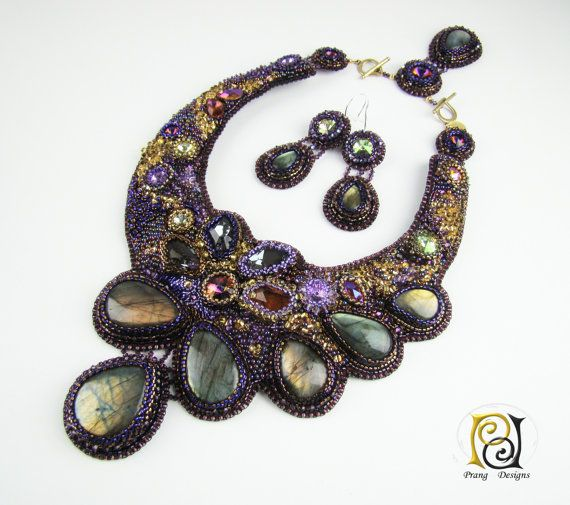 Bead embroidery necklace Labradorite necklace by PrangDesigns, $1890.00