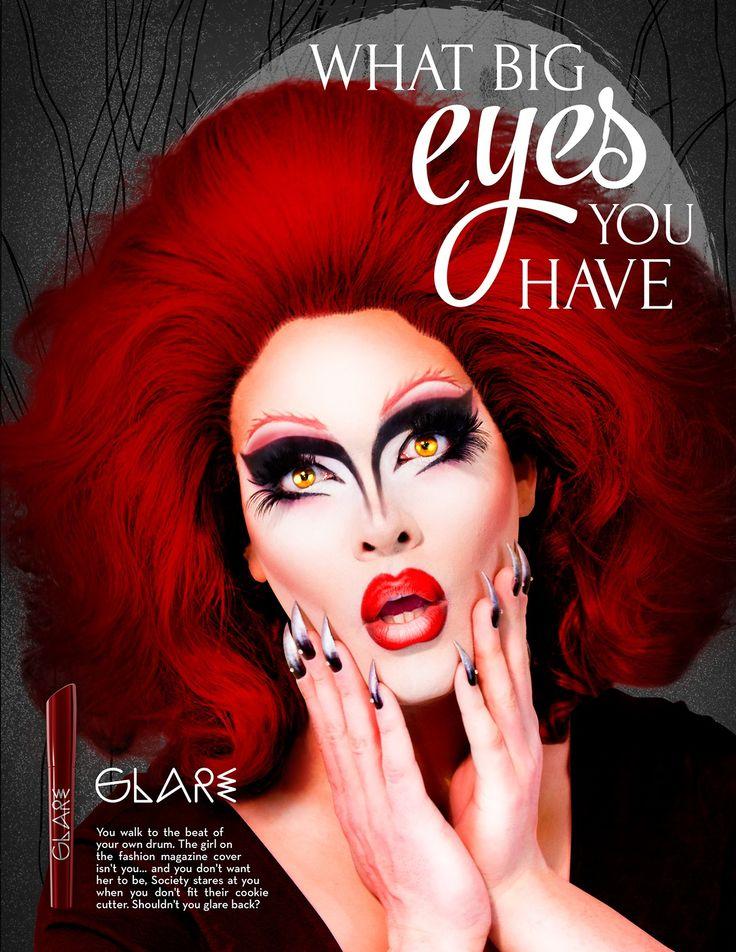 A makeup line starring the hauntingly gorgeous ghoul, Pissi Myles! http://www.PissiMyles.com design, graphic design, print, print ad, makeup, magazine, makeup art, makeup artist, grad school, graduate, design school, scad, scadventures, savannah college of art and design, art, photography,  Drag, drag queen, drag makeup, drag queen makeup, rupaul, rupaul's drag race, drag race, lgbt, trans, transgender, fairy tale, fairytale, red riding hood, wolf