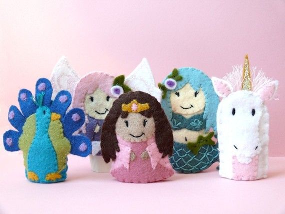 Adorable felt finger puppet set by Lindy Brown. The Girly Set Five Wool Felt Finger Puppets by stayawake on Etsy, $40.00.