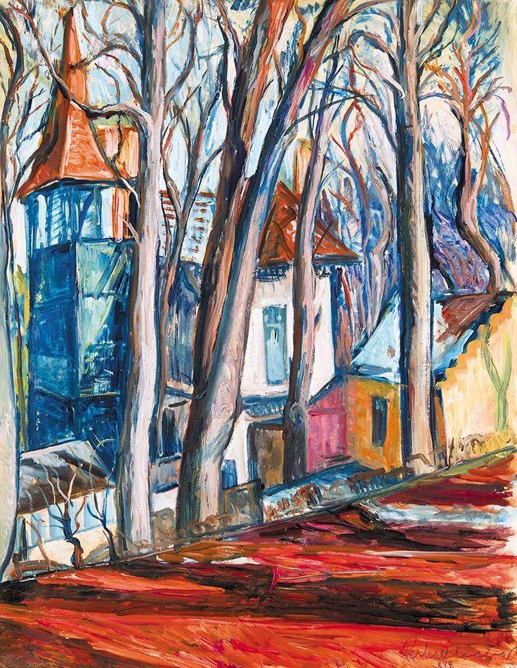 Perlrott Csaba Vilmos (1880-1955) Városrészlet fasorral, 1939