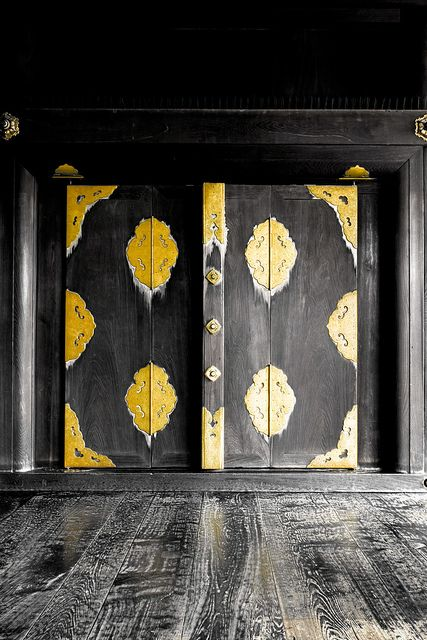 Entrance door to the main hall of Nishi Hongan-ji temple, Kyoto, Japan