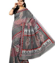 Buy Triveni Sophisticated Grey Colored Cotton Printed Indian Traditional Saree traditional-saree online