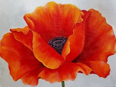 RED POPPY Acrylic Painting Tutorial by #angelafineart on YouTube. Beginner Blending Lesson. Free Georgia O'Keeffe inspired canvas art