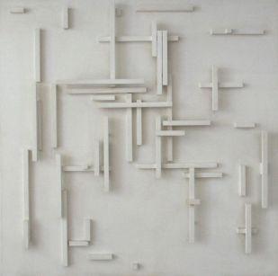 Herman de Vries (1931) is een Nederlands beeldend kunstenaar. In 1953 begon hij zich naast zijn werk als plantkundige bezig te houden met het maken van kunst. Zijn vroege werk bestaat onder andere uit collages van gevonden materiaal, zoals een van de muur afscheurde laag posters. Later in de jaren 50 begint hij te schilderen in witte, grijze en zwarte tonen. Deze rulle, voorstellingsloze werken kunnen worden gerekend tot materieschilderkunst.