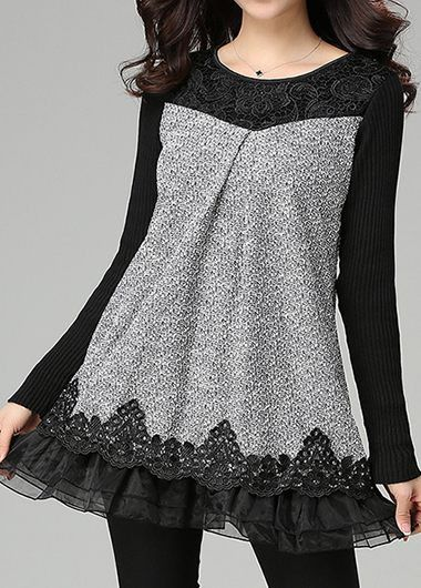 Long Sleeve Lace Panel Grey Blouse on sale only US$37.26 now, buy cheap Long Sleeve Lace Panel Grey Blouse at liligal.com