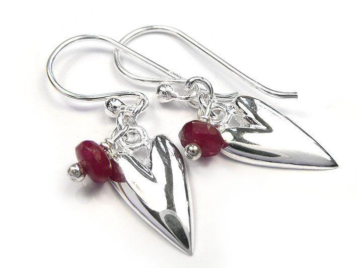 Silver Earrings - Ruby Love