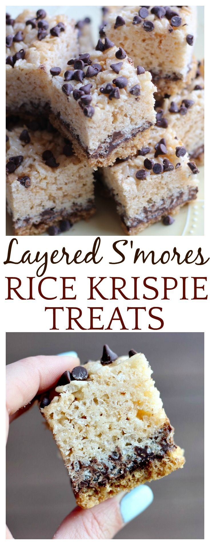 Layered S'mores Rice Krispie Treats are a classic summer dessert that can be enjoyed anytime of the year! They can be made ahead of time, and are easy to pack! | #dlbrecipes #smores #ricekrispietreats #dessert #summerdessert