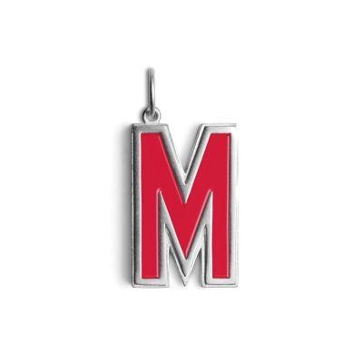 Letter pendant med rød emalje - Sterling Sølv - Vedhæng