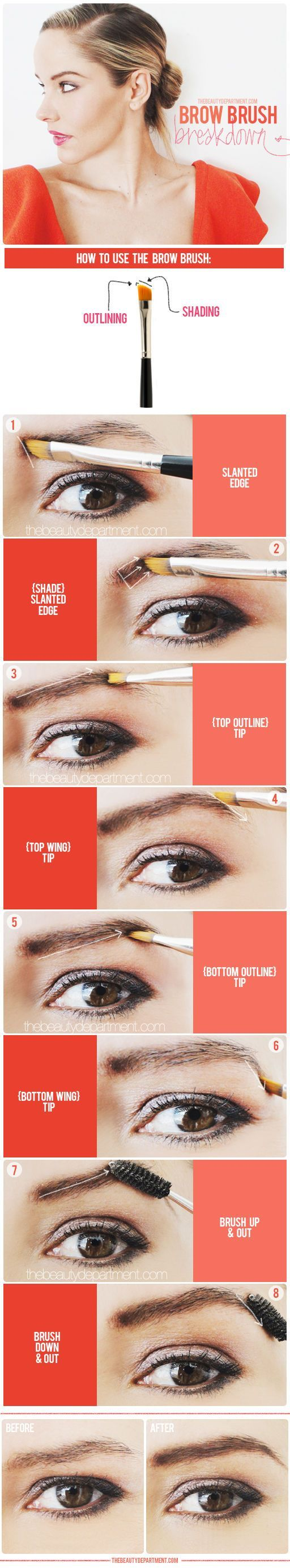 Good to know: how to use a brow brush.: