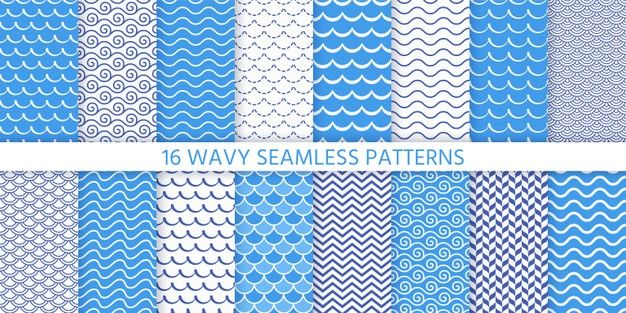 Wave Seamless Pattern Blue Wavy Background Set Textures With Stripes Tides And Rollers Sea Geometric Prints Marine Nautical Design Simple Modern Illust Seamless Patterns Line Art Vector Doodle Background