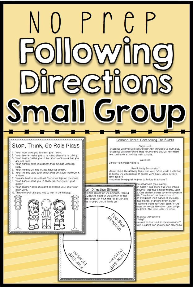 This is a 6 session, no prep social skills group focused on following directions. Students will learn to identify barriers that keep them from being able to follow directions as well as skills to help them overcome each barrier.  Table of Contents:p.3: General Group Hintsp.4: Survey for Data Collectionp.5: Session 1- Intro to Following Directionsp.6&7: Session 2- What Makes Following Directions Hardp.8-10: Session 3- Controlling the Blurtsp.11