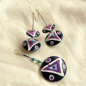 Jewelry set made of wood and stones (turcmenit, rock crystal), steel wire and silver. Hook earrings are silver (pr 925).