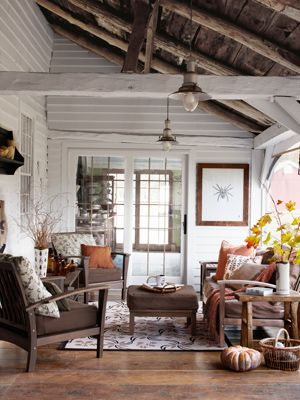 Rustic Barn Pendants Add Western Style to Charming SunroomCabin, Spaces, Decor Ideas, Living Rooms, Spiders, Expo Beams, Lakeside Living, Enclosed Porches, White Wall