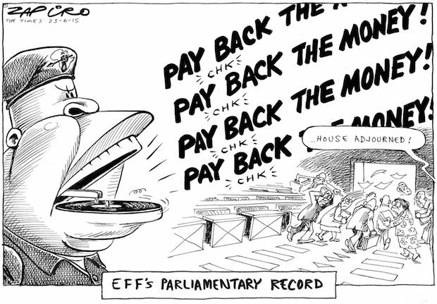Zapiro - EFF Parliamentary Performance - #PayBacktheMoney published in The Times on 23 Jun 2015