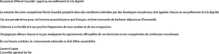 Assassinat d'Hervé Gourdel : appel au recueillement et à la dignité