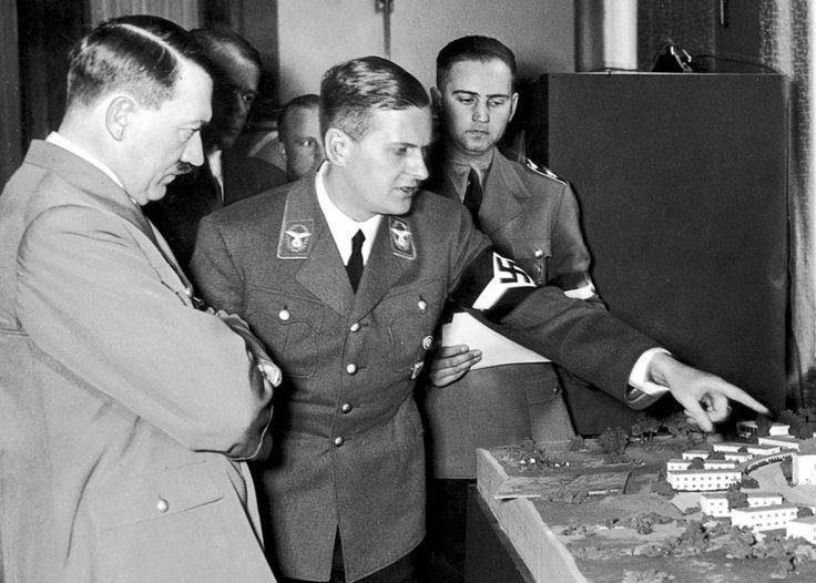 Adolf Hitler, Albert Speer, Badlur and Bormann (partially obscured). 1939.